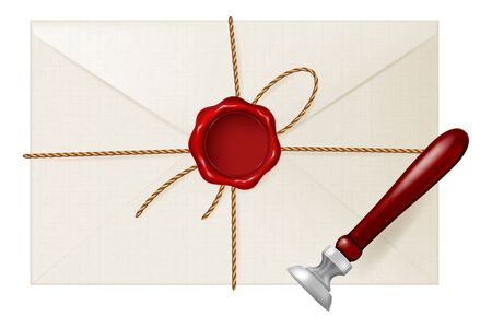 Envelope with wax seal and stamp tool. Vector illustration.