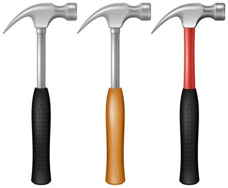 Set of steel carpenter's hammers. Vector illustration.