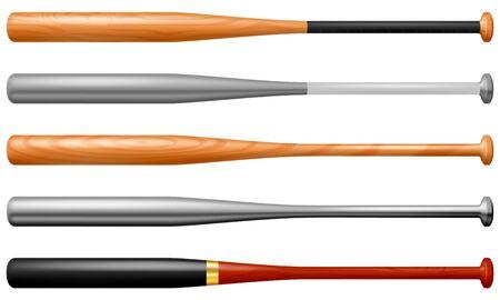 Set of baseball bats. Vector illustration.