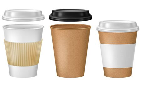 Set of disposable coffee cups. Vector illustration.