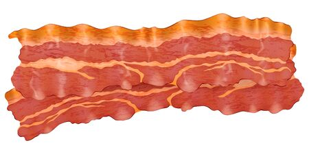 Fried slices of bacon. Vector illustration.