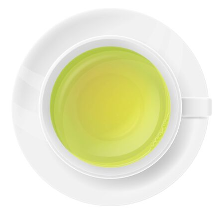 White porcelain cup of green tea, top view. Vector illustration.