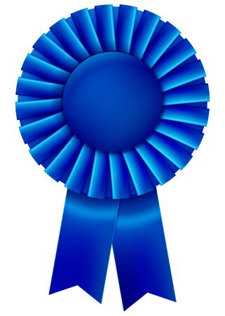 A blue first place prize ribbon. Vector illustration. Vectores