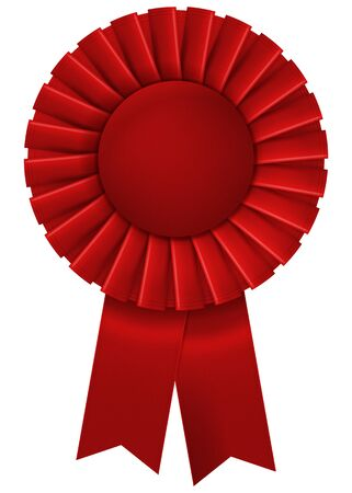A red second place prize ribbon. Vector illustration.