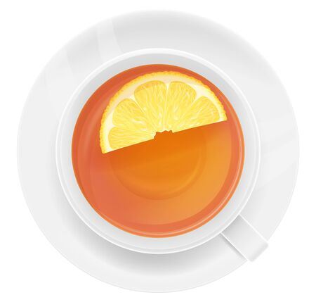 A white cup of tea with lemon, top view. Vector illustration.