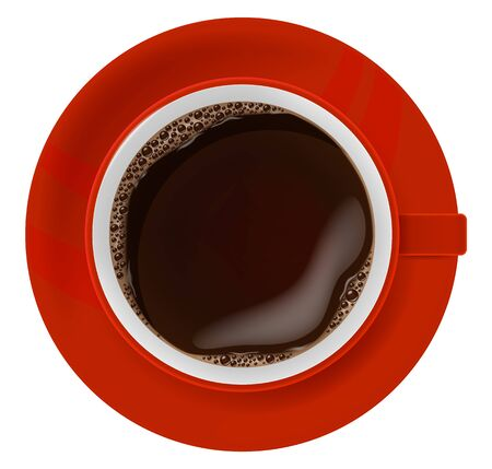 Red cup of coffee on a plate, top view. Vector illustration. 일러스트