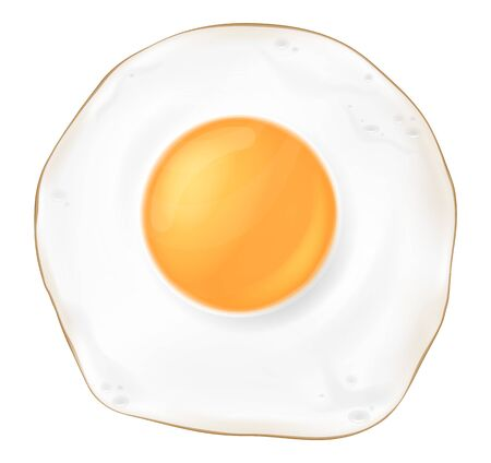 One fried egg, top view. Vector illustration.