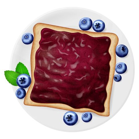Blueberry jam on a toast, served on a white plate with fresh berries and mint leaves. Vector illustration.