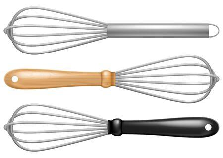 Set of stainless steel whisks. Vector illustration.