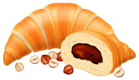 Freshly baked croissant with chocolate nougat cream filling and hazelnuts. Vector illustration.