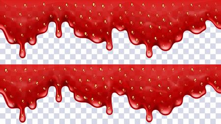 Strawberry background jam dripping. Vector illustration.