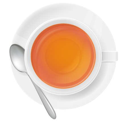 A white cup of tea and spoon on white Vectores
