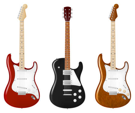 Six string electric guitar in three color schemes. Vector illustration.