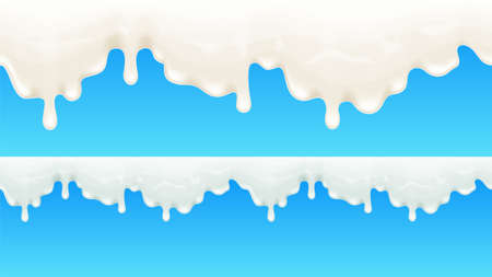 Dripping milk background with smart transparencies. Vector illustration.