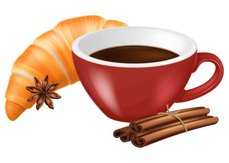 Cup of coffee with croissant, cinnamon and anise. Vector illustration.
