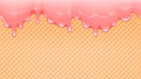 Dripping melting pink ice cream and wafer background. Vector illustration.
