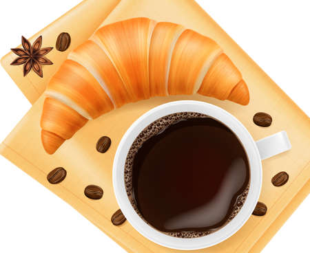 Coffee cup with croissant on linen napkin. Vector illustration. 일러스트