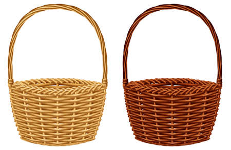Wicker basket in two colors, isolated on white background. Vector illustration. Vectores
