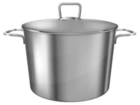 Stainless steel saucepot. Vector illustration. Vectores