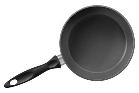 Frying pan isolated on white background. Photo-realistic vector illustration.