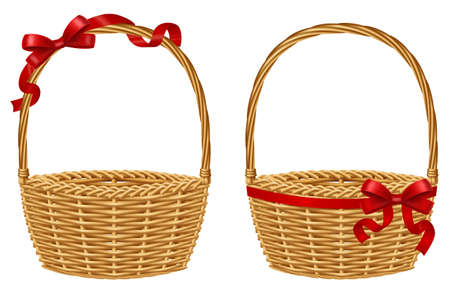 Empty wicker gift basket with red ribbon isolated on white background. Vector illustration.