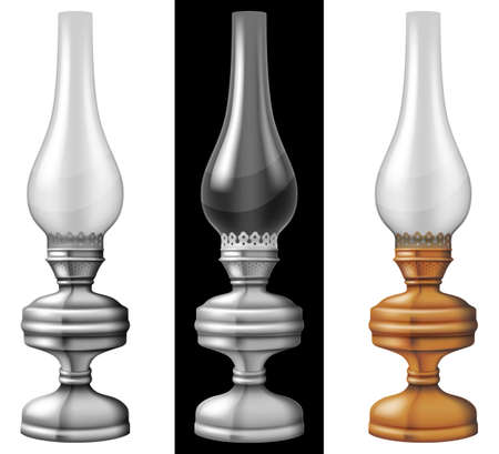 Set of three kerosene / oil lanterns / lamps. Photo-realistic vector illustration.