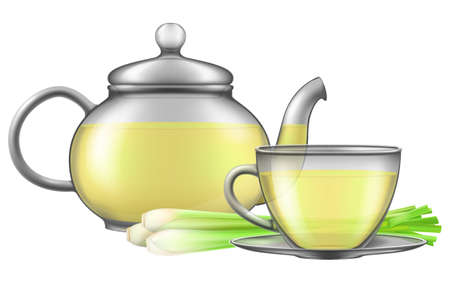 Teapot and cup of lemongrass tea with lemongrass shoots isolated on white background. Photo-realistic vector illustration.