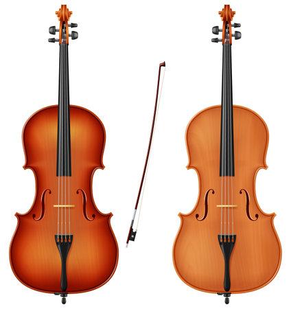 Classic cello in two color schemes. Photo-realistic vector illustration.