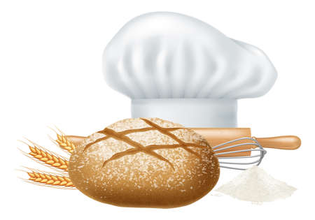 Chef hat, fresh bread, ears of wheat, rolling pin and whisk isolated on white background. Photo-realistic vector illustration. Illustration