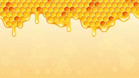 Dripping honey background with honeycomb. Vector illustration. Illustration