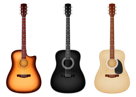 Classic six string acoustic guitar in three color schemes. Vector illustration.