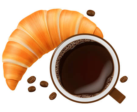 Cup of coffee with croissant and roasted beans. Vector illustration.