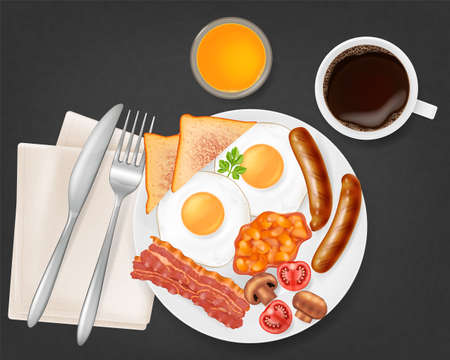 Traditional english breakfast on a plate, top view. Vector illustration.