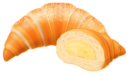 Freshly baked croissant with cream filling isolated on white background. Vector illustration.