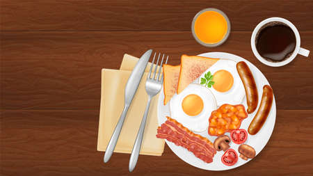 Traditional english breakfast on a plate, top view. Photo-realistic vector illustration. Illustration