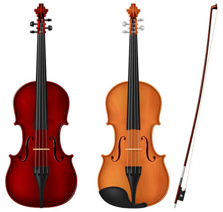 Classic violin in two color schemes isolated on white background. Photo-realistic vector illustration.