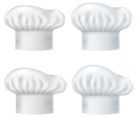 Set of chef hats isolated on white background.