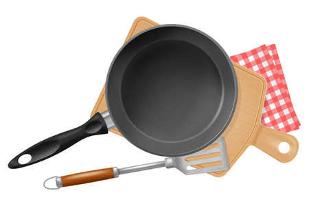 Frying pan with woodwn board and spatula isolated on white background.