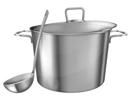 Stainless steel saucepot and ladle isolated on white background.