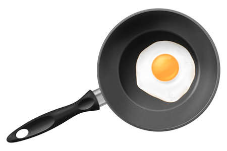 Frying pan with fried egg isolated on white background.