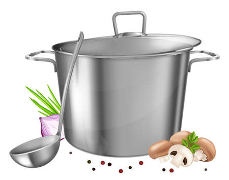 Stainless steel saucepot with ladle and vegetables isolated on white background.