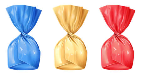 Set of wrapped candies isolated on white background. Photo-realistic vector illustration.