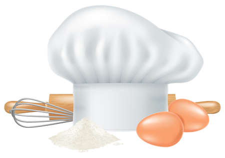 Chef hat, two eggs, flour, rolling pin and whisk isolated on white background.
