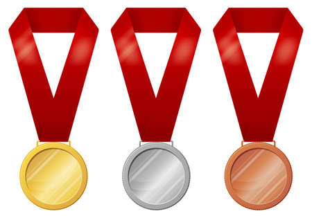 Set of medals isolated on white background in three versions - gold, silver, bronze.