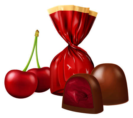 Fresh cherries berries and chocolate candies with cherry filling, wrapped and opened isolated on white background. Photo-realistic vector illustration.