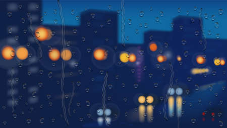 Night city background and driving cars in the rain. Vector illustration. Illustration