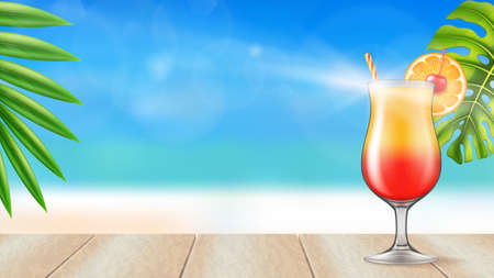 Tequila Sunrise cocktail on a wooden table on a beach background. Photo-realistic vector illustration.