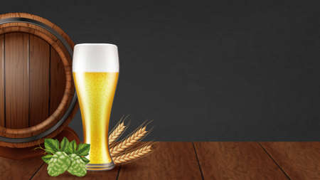 Glass of beer, wooden cask, fresh hops and ripe barley. Photo-realistic vector illustration.