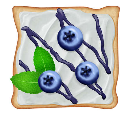 Toast with cream cheese and fresh bluberries with mint leaves isolated on white background. Vector illustration.