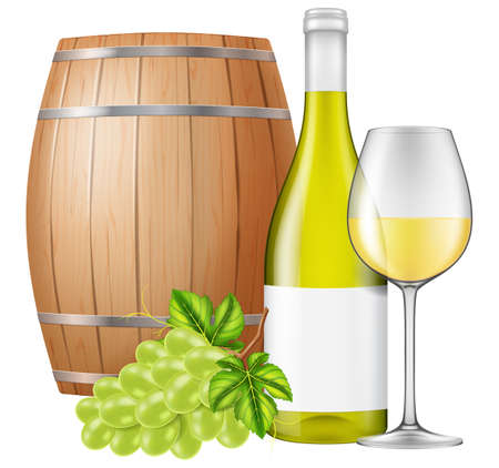 White wine bottle, glass, wooden cask and fresh grapes isolated on white background. Photo-realistic vector illustration. 向量圖像